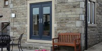 Windsor composite French doors in Grey
