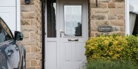 Beeston composite door in White with bespoke glass, Shelley