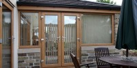 Irish Oak UPVC French doors and windows.