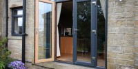 PVCu dual colour French doors in Grey on Irish Oak