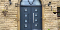Parma composite door in French Grey on White with 800 handles - Fenay Bridge, Huddersfield