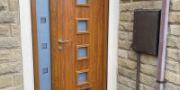 Parma composite door in Golden Oak with bespoke 3D glass and bespoke handle - Shelley, Huddersfield